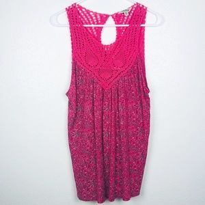 Lucky Brand | Pink Crochet Boho Swing Tank Top M